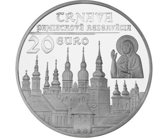 // 20 euro, argint de 925/1000, Slovacia, 2011 // - Trnava, evocat uneori de românii transilvăneni drept Sâmbăta Mare, se alfă în vestul Slovaciei, este sediul unei arhiepiscopii romano-catolice încă din secolul al XVI-lea. Oraşul are un centru istoric, c