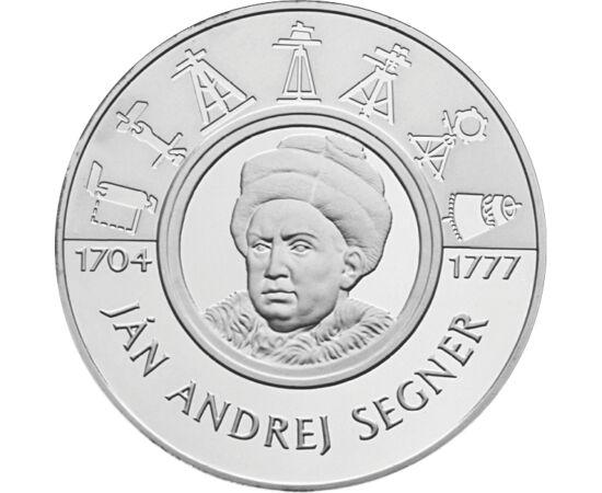 // 200 coroane, argint de 900/1000, Slovacia, 2004 // - Savantul, matematicianul Johann Andreas Segner s-a născut în Bratislava. Invenţia lui cea mai cunoscută este roata Segner. Mai multe străzi dar şi un crater pe Lună îi poartă numele. Moneda comemorat