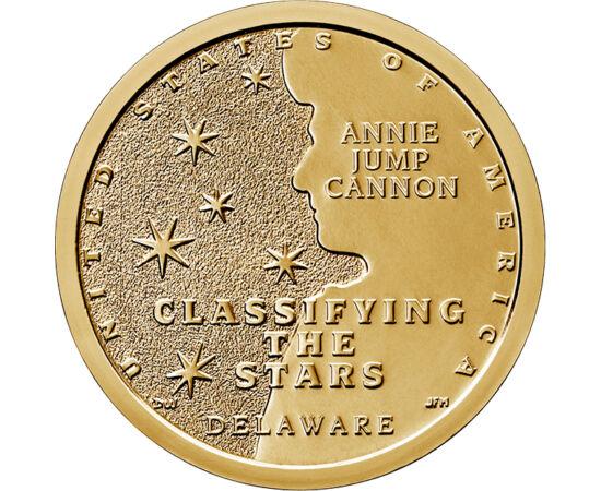 // 1 dolar, SUA, 2019 // - Noua serie de monede din SUA are ca protagonişti pionierii ştiinţelor. Moneda de 1 dolar din 2019 o prezintă pe Annie Jump Cannon, astronom, prima femeie cu titlul de doctor al Universităţii Oxford, care a realizat schema de cla
