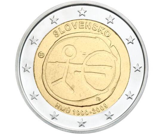 // 2 euro, Slovacia, 2009 // - În anul 1999 ţările UE au pornit pe drumul către o valută comună, aşa s-a născut moneda euro. Cu acest prilej, fiecare ţară a emis o monedă jubiliară de 2 euro cu motiv comun. Slovacia în 2019 a intrat în zona euro, astfel e