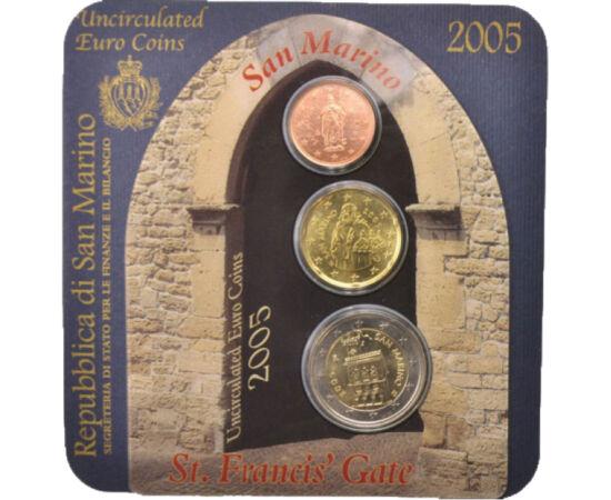 // 2 cenţi, 20 cenţi, 2 euro, San Marino, 2005 // - San Marino, unul dintre cele mai mici state din întreaga lume, a fost printre primii care în anul 2002 au introdus moneda euro. Monedele rare emise de acest microstat sunt foarte căutate.