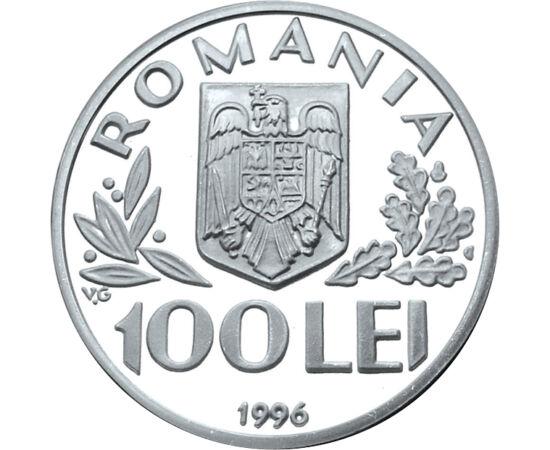 // 100 lei, argint de 925/1000, România, 1996 // - FAO este una dintre organizaţiile specializate ale ONU cu cea mai lungă tradiţie. Scopul acesteia este ridicarea nivelului de trai, eradicarea sărăciei şi a foametei. Moneda reprezintă un omagiu adus obie