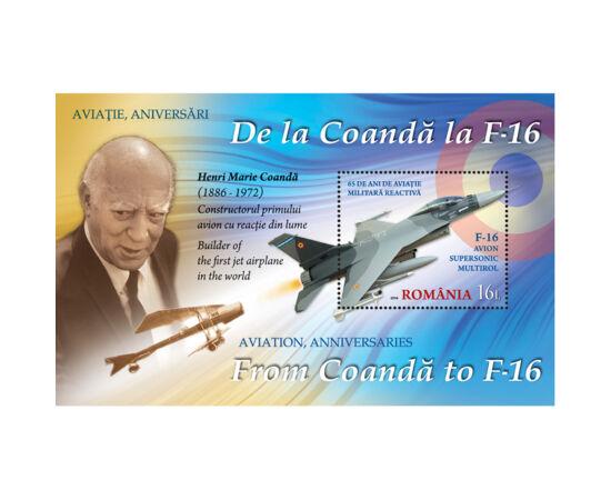 // 16 lei, România, 2016 // - Emisă la aniversarea a 100 de ani de aviaţie de vânătoare, coliţa dantelată înfăţişează pe Henri Coandă, creatorul primului avion cu reacţie, aeronava Coandă şi un avion supersonic F-16.
