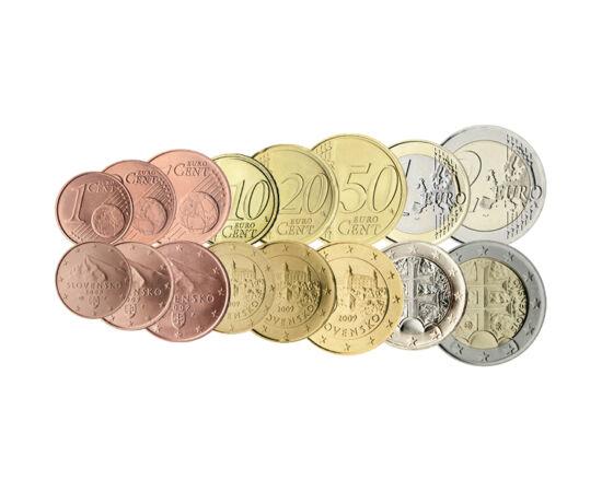 // 5x1, 5x2, 5x5, 6x10, 8x20, 8x50 cenţi, 6x1, 2x2 euro, Slovacia, 2009 // - În 2009, Slovacia a introdus moneda euro. În acel an, ca şi în alte ţări, guvernul a emis un pachet de iniţiere ca oamenii să aibă mărunţii necesari pentru cumpărăturile zilnice.