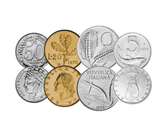 // 5, 10, 20, 50, 100, 200, 500, 1000 lire, Italia, 1951-2001 // - Italia, leagănul culturii europene, copleşită de pandemia coronavirus, şi în urmă cu 70 de ani a avut monede interesante, de o rară frumuseţe. Pe aceste monede apare ştiinţa, natura, arta