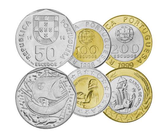 // 1, 5, 10, 20, 50, 100, 200 escudo, Portugalia, 2001 // - Descoperirile ştiinţifice ale marinarilor portughezi din secolul al XVI-lea au transformat percepţia oamenilor despre globul pământesc, cultură, societate şi economie. Nu este de mirare că pe ult