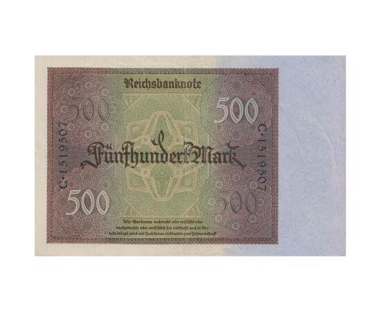 // 500 mărci, Imperiul German, 1922 // - Imperiul German şi-a creat noua valută, marca imperială, încă de la 4 decembrie 1871, care avea o acoperire de aur. Însă în anul 1923, hiperinflaţia dezlănţuită după Primul Război Mondial a lăsat marca imperială fă