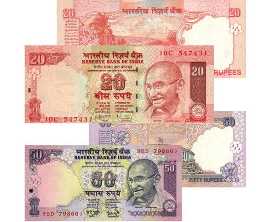 // 5, 10, 20, 50 rupii, India, 2006-2010 // - India este ţara a două mari religii: hinduismul şi budismul. Călătorul poate întâlni aici cea mai mare sărăcie, dar şi bogăţia imensă. Acest set de bancnote din îndepărtata ţară poate fi comoara exotică a oric