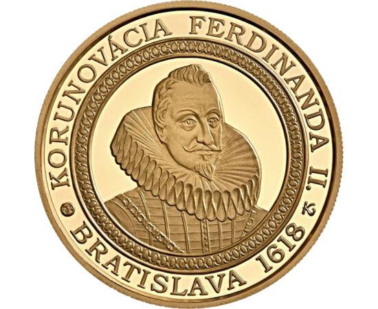 // 100 euro, aur de 900/1000, Slovacia, 2018 // - Ferdinand al II-lea a fost împărat al Imperiului romano-german, arhiduce de Stiria, totodată rege al Boemiei, al Croaţiei şi al Ungariei. Aversul monedei înfăţişează ceremonia de încoronare al regelui, pe