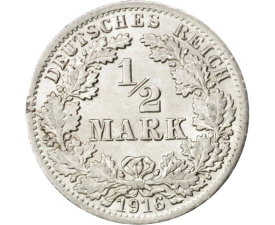 // 1/2 marcă, argint de 900/1000, Imperiul German, 1905-1919 // - Ultimul argint imperial a fost bătut din 1905, însă din cauza inflaţiei de după război, acesta şi-a pierdut valoarea. Astfel, în ultimii trei ani, monetăria a emis monedele tot din argint,