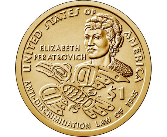 // 1 dolar, SUA, 2020 // - Dolarul inidienilor americani emis în acest an aduce omagiu activistei apărătoare a drepturilor civile Elizabeth Peratrovich, luptătoare pentru drepturile populaţiei indigene din Alaska. Meritul ei a fost adoptarea legii anti-di