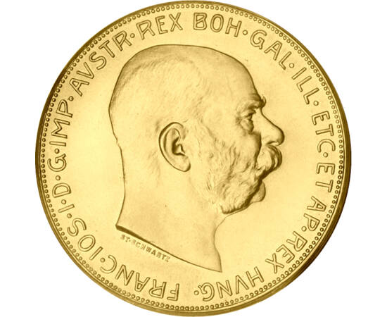// 100 coroane, aur de 900/1000, Monarhia Austro-Ungară, 1915 // - Coroanele de aur ale Monarhiei Austro-Ungare au fost un reper financiar chiar şi în timpul bunicilor noştri. Această replică de 100 de coroane se distinge de celelalte monede din aur dator