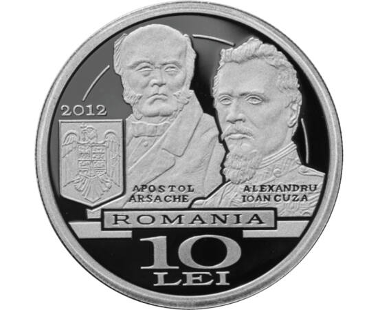 // 10 lei, argint de 999/1000, România, 2012 // - Moneda de argint, emisă cu ocazia aniversării a 150 de ani de la înfiinţarea Ministerului Afacerilor Externe, înfăţişează imaginea Palatului Sturdza, pe Apostol Arsache, primul titular al Ministerului Afac