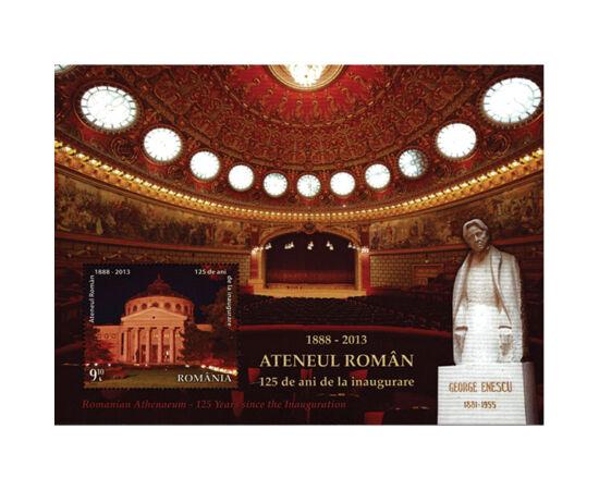 // 9,10 lei, România, 2013 // - Ateneul Român este cea mai frumoasă construcţie din Bucureşti. Cu ocazia împlinirii a 125 de ani de la inaugurare, a apărut emisiunea filatelică cu imagini din această clădire impresionantă.