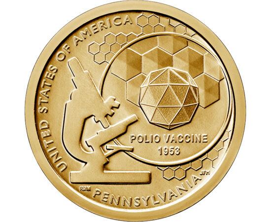 """// 1 dolar, SUA, 2019 // - Seria de monede """"Inovatori din SUA"""" ne prezintă invenţiile şi savanţii care au avut un impact semnificativ asupra omenirii. Moneda din Pennsylvania ne aminteşte de vaccinul care a pus capăt răspândirii poliomielitei, o boală car"""