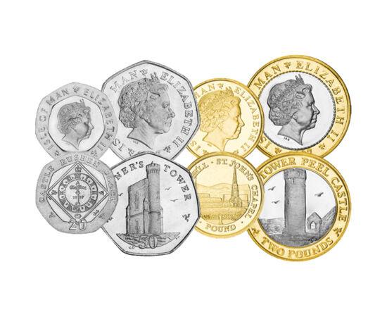 // 1, 2, 5, 10, 20, 50 pence, 1, 2 lire, Insula Man, 2004-2015 // - Insula Man nu aparţine de Regatul Unit, dar depinde de coroana britanică. Snaefell, cu o înălţime de 621 m, este cel mai înalt punct al insulei. Conform unei legende, de aici se pot vedea