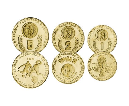 // 1, 2, 5 leva, Bulgaria, 1980 // - Aceste monede bulgare din anul 1980 au fost emise în perspectiva Campionatului Mondial FIFA din 1982. Deoarece anul acesta Campionatul European nu poate fi organizat, din cauza coronavirusului, aceste monede vin să-i c