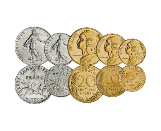 // 5, 10, 50 centime, 1/2, 1, 2, 5, 10 franci, Franţa, 1960-2001 // - În Franţa, pe monedele în circulaţie înainte de euro, au apărut  simbolurile clasice, frumoase şi mult îndrăgite cu Marianne şi figura femeii care semănă. Ambele simbolizează libertatea