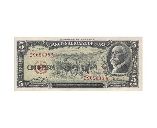 // 5 peso, Cuba, 1958 // - Cuba, ţara romului şi a trabucului, este cea mai mare insulă din Antilele Mari. Aici a atins pământul în 1492 Cristofor Columb. Ca urmare a Revoluţiei cubaneze izbucnită în 1953, Fidel Castro a ajuns la putere. Această bancnotă