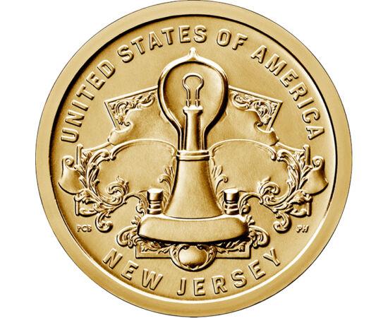 """// 1 dolar, SUA, 2019 // - Becul, invenţia lui Edison, a adus lumina artificială sigură şi uşor de folosit în fiecare cămin, schimbând astfel vieţile oamenilor. Moneda statului New Jersey din colecţia """"Inovatori din SUA"""" ne prezintă această invenţie-minun"""