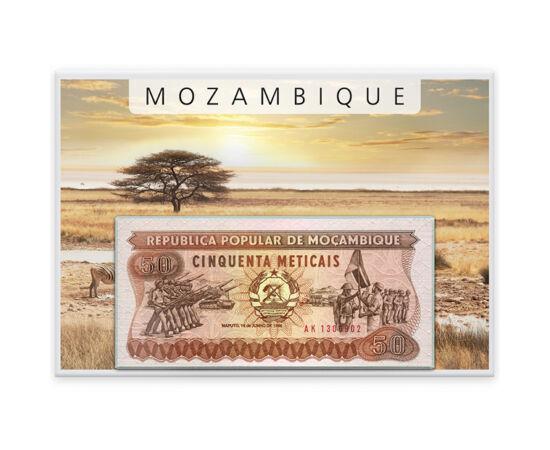 // 50, 100, 500, 1000, 5000 metical, Mozambic, 1983-1989 // - Nativii din Mozambic erau boşimanii. Ţara a fost descoperită de către Vasco da Gama, în anul 1498. Aceasta este primul set de monetărie emis după obţinerea independenţei, în 1975. Imagistica ac