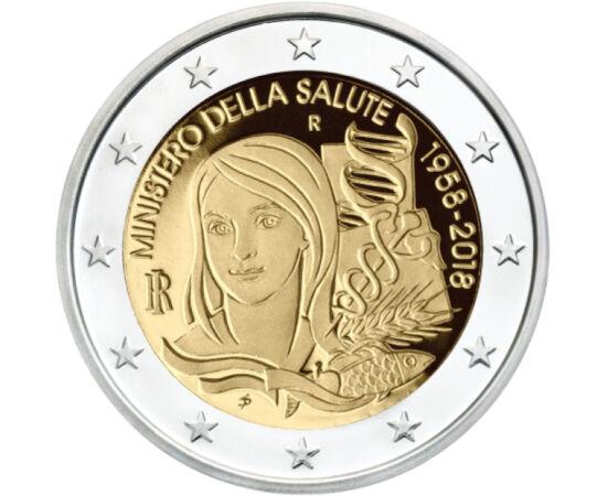 // 2 euro, Italia, 2018 // - Moneda italiană de 2 euro, emisă în anul 2018, a sărbătorit a 60-a aniversare a Ministerului Sănătăţii din Italia. La vremea aceea, nimeni nu s-a gândit, ce luptă vor avea doar doi ani mai târziu, pentru sănătatea şi viaţa pop