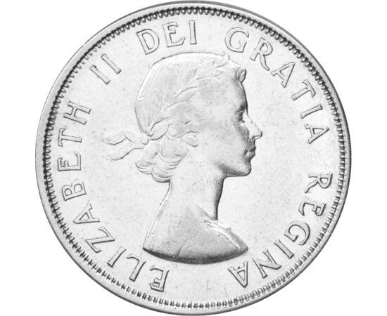 // 50 cenţi, argint de 800/1000, Canada, 1959-1964 // - Istoria Canadei a început odată cu indienii în America de Nord, devenind în 1931 un stat independent. Pe monedă este înfăţişat efigia reginei Elisabeta a II-a, respectiv stema Canadei cu inscripţia -