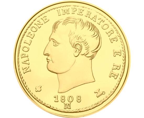 // 20 lire, replică, Italia, 1808 // - Napoleon a fost unul dintre cei mai buni conducători militari ai tuturor timpurilor. În 1797, a instaurat dominaţia franceză în nordul Italiei. Astfel, au fost emise monede de aur italiene, cu portretul lui. Original