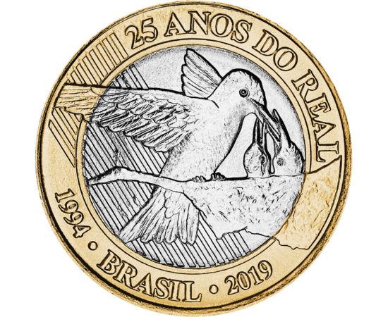 // 1 real, Brazilia, 2019 // - Moneda oficială a Braziliei, realul este în circulaţie din anul 1994. Această monedă de o frumuseţe rară, care prezintă o pasăre colibri hrănindu-şi puii, a fost lansată în cinstea aniversării a 25 de ani de la introducerea