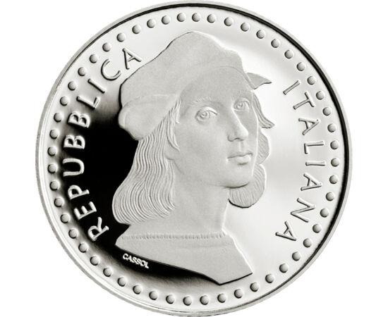 """// 5 euro, argint de 925/1000, Italia, 2020 // - Prin lansarea acestei monede comemorative din argint, monetăria italiană omagiază 500 de ani de la naşterea artistului renascentist Raffaello Sanzio. Pe avers este înfăţişat un detaliu din tabloul """"Şcoala d"""