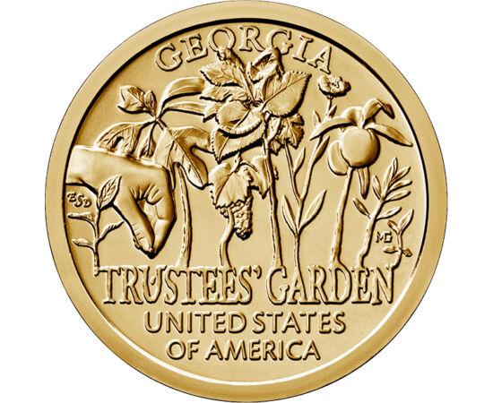 // 1 dolar, SUA, 2019 // - Ultima lansare a seriei de monede, care omagiază inovatorii americani, este cea dedicată inovaţiei statului Georgia, grădina Trustees, fondată în 1730. Aceasta este de mare importanţă nu doar pe plan botanic, ci şi din punct de