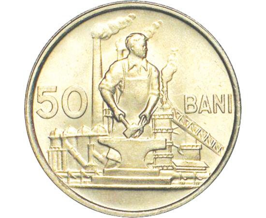 """// 50 bani, România, 1955-1956 // - Numele oficial purtat de România după abdicarea forţată a regelui Mihai I, a fost Republica Populară Română. Pe reversul monedei, conform normelor ortografice din anul 1954, numele ţării este scris cu """"Δ."""
