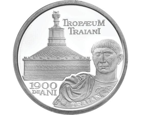 // 10 lei, argint de 999/1000, România, 2009 // - La aniversara a 1900 de ani de la construirea monumentului Adamclisi, BNR a emis o monedă de argint pur. Monumentul triumfal a fost construit de împăratul Traian în memoria celei mai mari bătălii a primulu
