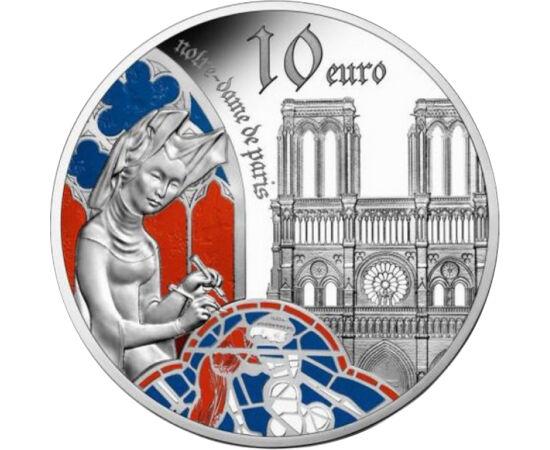 // 10 euro, argint de 900/1000, Franţa, 2020 // - Moneda comemorativă din argint a monetăriei franceze aduce omagiu stilului gotic prin prezentarea capodoperei arhitecturii gotice, Catedrala Notre Dame de la Paris, mistuită de flăcări în urmă cu un an .
