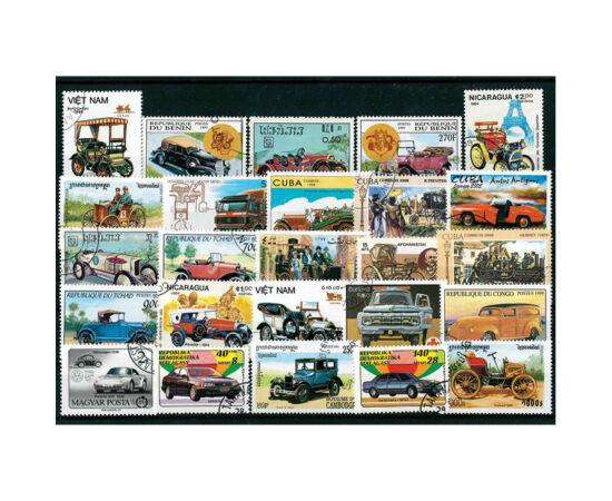 // ţara diferă // - Colecţie unică de 25 de timbre ştampilate din ţări egzotice şi europene cu maşini de epocă. Timbrele sunt aşezate pe un carton negru cu folie portectoare.