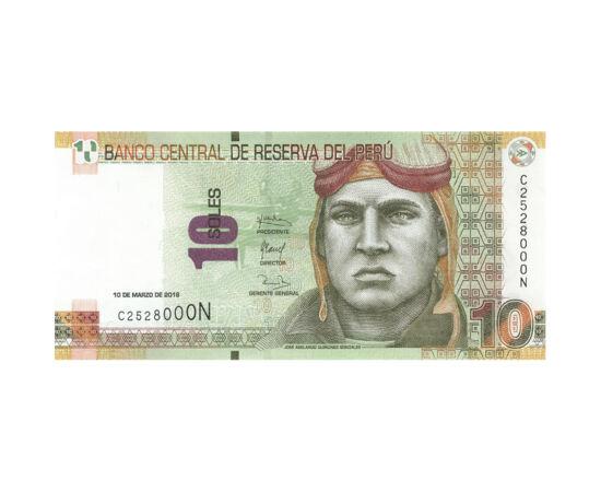 // 10 sol, Peru, 2016 // - În 1991, a fost lansată în Peru o bancnotă cu legendarul pilot de vânătoare José Abelardo, devenit erou naţional în războiul purtat cu Ecuador. Pe reversul bancnotei apare cel mai cunoscut monument arhitectural al ţării, Machu P