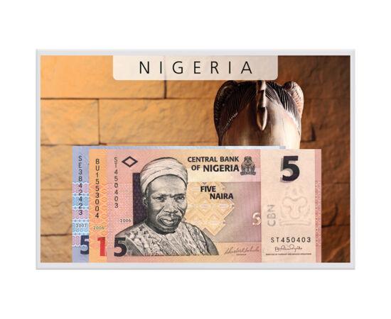 // 5, 10, 50 naira, Nigeria, 2006-2007 // - Nigeria a devenit cunoscută arheologiei doar după găsirea tezaurului antic pe teritoriul său. Pe această parte a Africii înfloreau civilizaţii avansate încă din vremea Antichităţii.