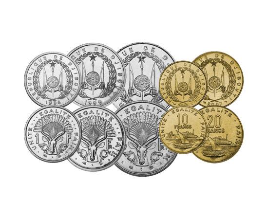 // 1, 2, 5, 10, 20, 50, 100, 250, 500 franci, Djibuti, 1977-2016 // - Monedele statului african deşertic aflat sub guvernare franceză timp de mai mult de 100 de ani au rămas neschimbate timp de aproape patruzeci de ani. Pe reversul monedelor apar valori n