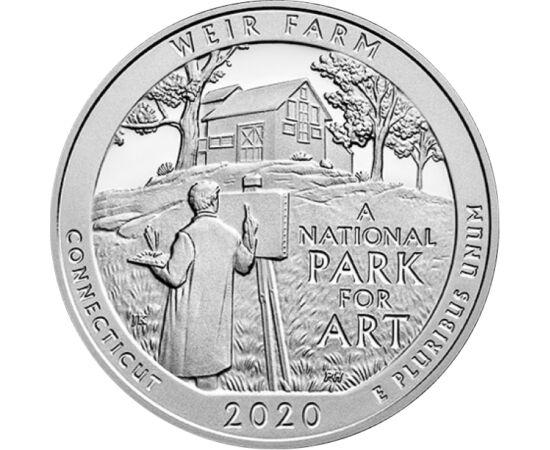 // 25 cenţi, SUA, 2020 // - Cea mai recentă piesă din seria parcurilor naţionale americane prezintă monumentul istoric Weir Farm. Căminul pictorului Julian Alden Weir a oferit inspiraţie multor pictori în ultimii 120 de ani. Pe monedă apare un pictor în f