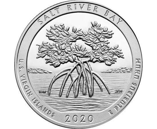 // 25 cenţi, SUA, 2020 // - Seria de monede cu parcurile naţionale din SUA ne prezintă acum parcul Salt River Bay, cu un amestec specific de arbuşti şi arbori caracteristici acestuia, mangrovele. Acest parc istoric şi ecologic, având un ecosistem dinamic,