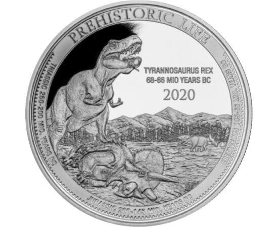 // 20 franci, argint de 999,9/1000, Congo, 2020 // - Tyrannosaurus Rex sau T-Rex a fost unul dintre cei mai mari carnivori tereştri cu 4 m înălţime, 14 m lungime şi cântărind 6 tone. Protagonistul seriilor Jurassic Park este acum accesibil tuturor prin ac