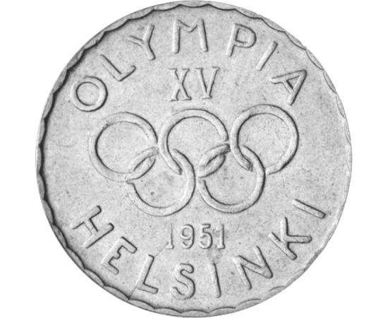 // 500 mărci, argint de 500/1000, Finlanda, 1951-1952 // - Pare surprinzător, prima monedă în istoria JO din era modernă a apărut abia cu ocazia JO de la Helsinki, adică la a 15-a olimpiadă. Aceasta a fost decorată cu cele 5 cercuri olimpice, astfel deven