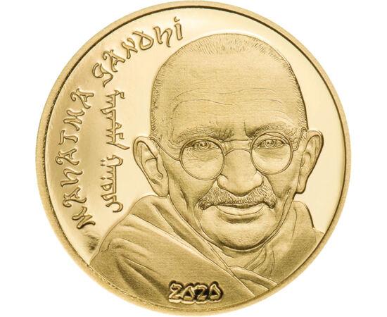 // 1000 togrog, aur de 999,9/1000, Mongolia, 2020 // - Mahatma Ghandi, personaj iconic al secolului XX, cel mai mare om politic şi lider spiritual din India. A cucerit independenţa ţării printr-o politică pacifistă şi consecventă, salvându-şi patria de ră