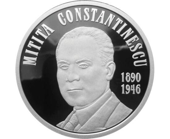 // 10 lei, argint de 999/1000, România, 2015 // - Mitiţă Constantinescu a fost guvernator al Băncii Naţionale a României, a coordonat o serie de comisii de cercetări în domeniul economic şi financiar. Moneda din argint pur aniversează 125 de ani de la naş