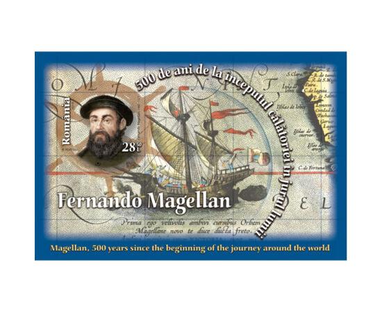 // 28,50 lei, România, 2019 // - Emisiune filatelică în onoarea aniversării a cinci secole de la începutul călătoriei transglobale a lui Magellan în jurul lumii. Coliţa nedantelată ilustrează portretul lui Magellan şi nava Victoria.