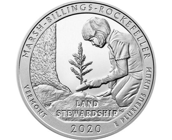 // 25 cenţi, argint de 999/1000, SUA, 2020 // - Pe această monedă figurează Parcul istoric Marsh-Billings-Rockefeller, parte a seriei ce prezintă parcurile naţionale din SUA. Acest parc naţional a fost primul care a primit certificatul de silvicultură sus