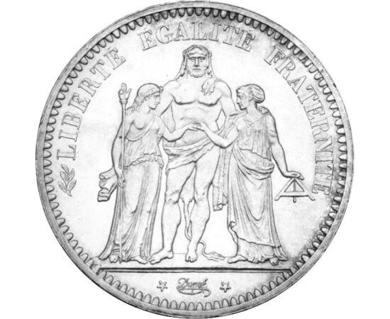 // 5 franci, argint de 900/1000, Franţa, 1848-1849 // - Grupul alegoric format din trei figuri, simbolizează Franţa şi triplul slogan al acesteia, figura feminină cu boneta frigiană reprezentând libertatea, cealaltă, cu rigla masonică în mână, fraternitat