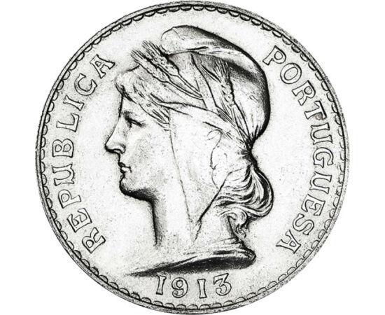 // 50 centavo, argint de 835/1000, Portugalia, 1912-1916 // - În timpul Primului Război Mondial, Portugalia şi-a păstrat neutralitatea şi independenţa. Portretul femeii cu bonetă frigiană, simbolul libertăţii de pe monede, era un adevărat mesaj, o valoare