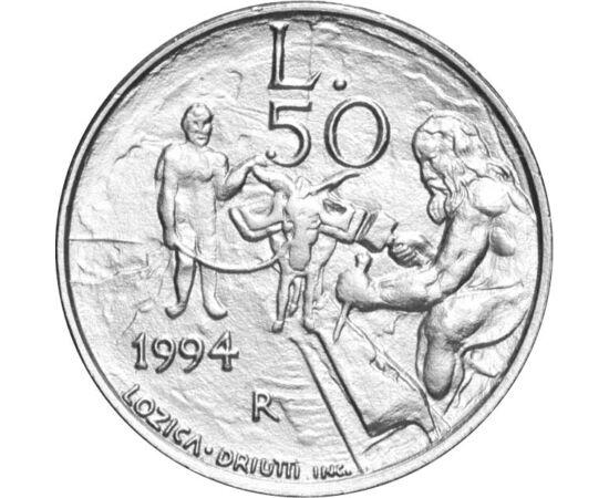 // 50 lire, San Marino, 1994 // - San Marino este una dintre cele mai mici ţări din întreaga lume. Monedele ale acestei ţări sunt rare şi căutate de colecţionari. Această monedă de 50 de lire din 1994 ne prezintă o meserie foarte veche, cioplitor în piatr