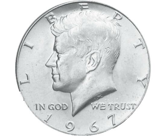 // 1/2 dolari, SUA, 1965-1970 // - Oare sovieticii, cubanezii, Castro, mafia, propria administraţie sau un nebun solitar l-ar fi omorât pe cel de-al 35-lea preşedinte al SUA? În anul 1964, moneda cu acest motiv a fost emisă cu un conţinut de argint de 900